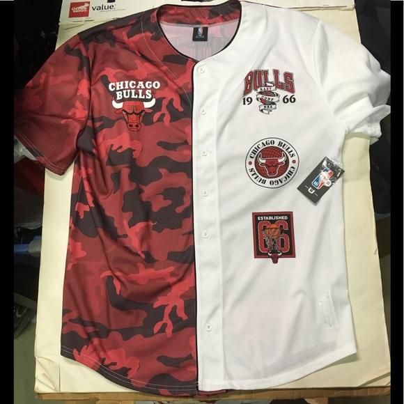 88183bad NBA Shirts | Chicago Bulls Red Camo Baseball Jersey | Poshmark